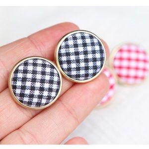 Gingham Stud Earrings